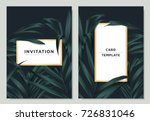 green palm leaves with white...   Shutterstock .eps vector #726831046