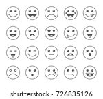 set of line art round emoticons ... | Shutterstock .eps vector #726835126