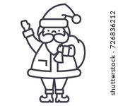 santa claus vector line icon....