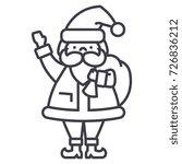 santa claus vector line icon.... | Shutterstock .eps vector #726836212