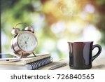 glass of coffee on table with... | Shutterstock . vector #726840565