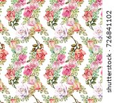 roses pattern.watercolor | Shutterstock . vector #726841102