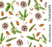 christmas seamless pattern on a ... | Shutterstock . vector #726846898
