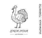 hand drawn doodle cute turkey... | Shutterstock .eps vector #726848752