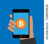 bitcoin and smartphone. flat... | Shutterstock .eps vector #726850828