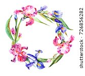 wildflower iris flower wreath... | Shutterstock . vector #726856282