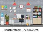 Office Building Interior. Desk...