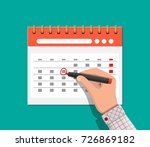 paper spiral wall calendar and... | Shutterstock .eps vector #726869182