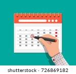 paper spiral wall calendar and... | Shutterstock .eps vector #726869182
