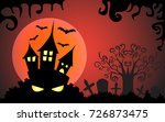 halloween horrible castle in... | Shutterstock .eps vector #726873475