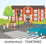 children wait for a green... | Shutterstock .eps vector #726878482