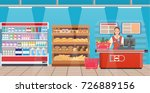 supermarket store interior with ... | Shutterstock .eps vector #726889156