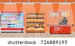 supermarket store interior with ... | Shutterstock .eps vector #726889195