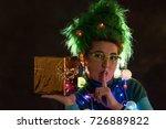 splendid girl with green hair... | Shutterstock . vector #726889822