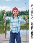 happy cute boy enjoyed the... | Shutterstock . vector #726901378