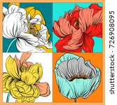 colorful silk scarf with... | Shutterstock .eps vector #726908095