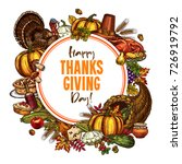 thanksgiving day sketch poster... | Shutterstock .eps vector #726919792