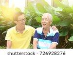 conversation between the senior ... | Shutterstock . vector #726928276