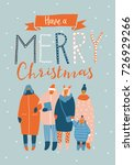 christmas greeting card with... | Shutterstock .eps vector #726929266