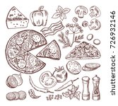 italian pizza with different... | Shutterstock .eps vector #726932146