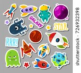 set of stickers with space... | Shutterstock .eps vector #726932398