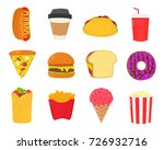 fast food snacks set. french... | Shutterstock .eps vector #726932716