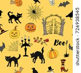 halloween seamless pattern with ... | Shutterstock .eps vector #726938545