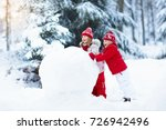 children build snowman. kids... | Shutterstock . vector #726942496