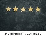 five stars in a row on a black... | Shutterstock . vector #726945166