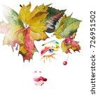 portrait of girl with autumn... | Shutterstock . vector #726951502