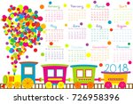 2018 calendar with cartoon... | Shutterstock .eps vector #726958396