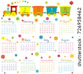 2018 calendar with toy train...   Shutterstock .eps vector #726958462
