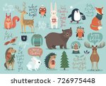 Stock vector christmas set hand drawn style calligraphy animals and other elements vector illustration 726975448