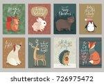 christmas animals card set ... | Shutterstock .eps vector #726975472
