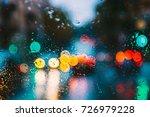 Drops Of Rain Water In Night O...