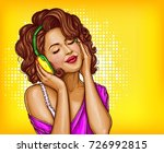 young pretty woman in vintage... | Shutterstock .eps vector #726992815