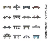 bridge line icon set vector | Shutterstock .eps vector #726993562