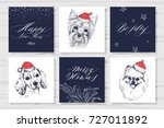 set of christmas cards. dogs in ... | Shutterstock .eps vector #727011892