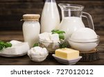 fresh dairy products on the... | Shutterstock . vector #727012012