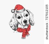 beagle dog in santa claus hat.... | Shutterstock .eps vector #727012105