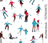 seamless pattern with people... | Shutterstock .eps vector #727014472