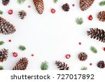 holiday postcard. xmas frame of ... | Shutterstock . vector #727017892