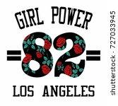 girl power 82 slogan fashion... | Shutterstock .eps vector #727033945