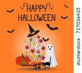 happy halloween card  flyer. | Shutterstock .eps vector #727036435