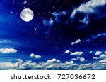night sky with stars and moon | Shutterstock . vector #727036672