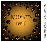 halloween party card. pumpkins... | Shutterstock . vector #727039375