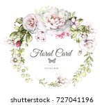 hand painted card  watercolor... | Shutterstock . vector #727041196
