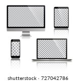 realistic set of monitor ... | Shutterstock .eps vector #727042786