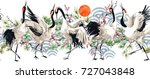 watercolor japanese crane bird... | Shutterstock . vector #727043848