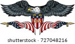 american eagle with usa flags | Shutterstock . vector #727048216